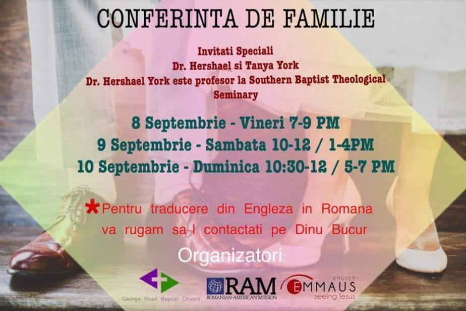 CONFERINTA DE FAMILIE CU HERSHAEL & TANYA YORK. Birmingham, U.K. 8-10SEPTEMBRIE